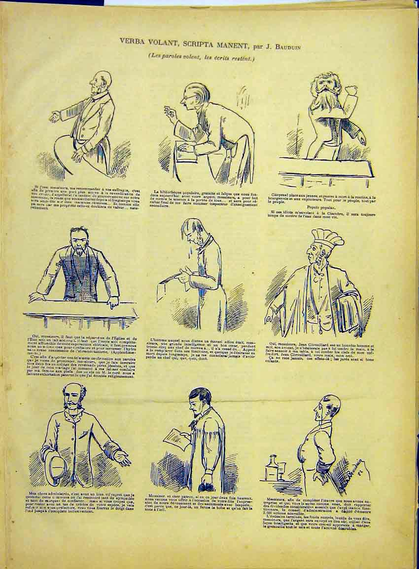 Print Sketches Bauduin Court Library Speech French 1882 747630 Old Original