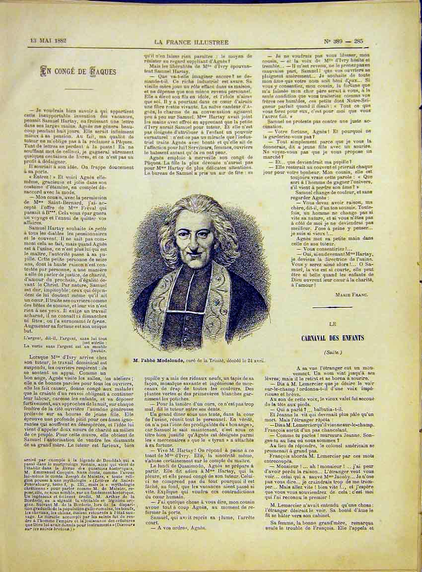Print Portrait Modelonde Trinity Church Religious 1882 857630 Old Original