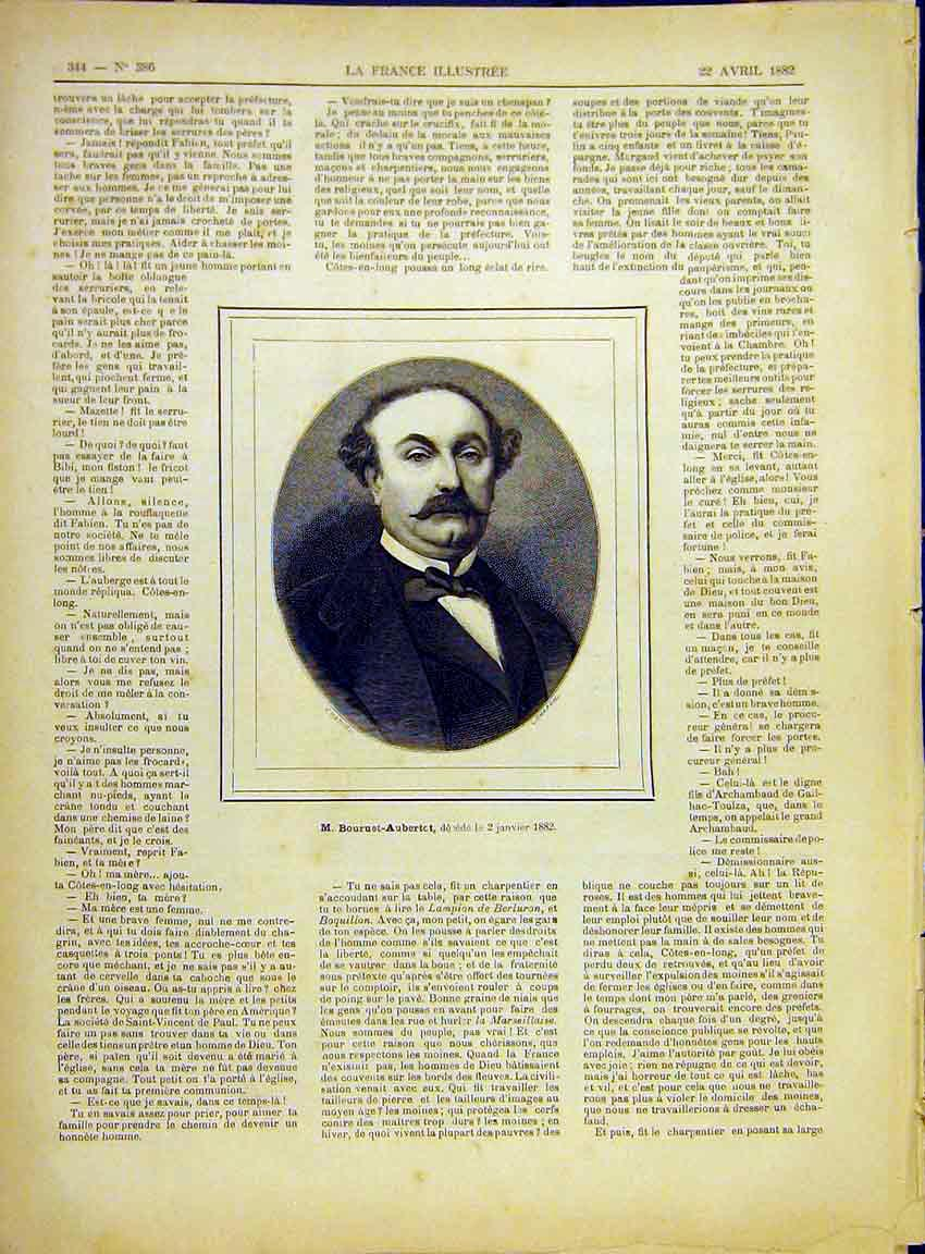 Print Portrait Boureuet-Aubertot French 1882 447630 Old Original
