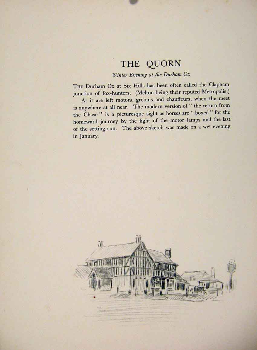 Print The Quorn Winter Evening At Durham Ox By Lionel Edwards 237651 Old Original