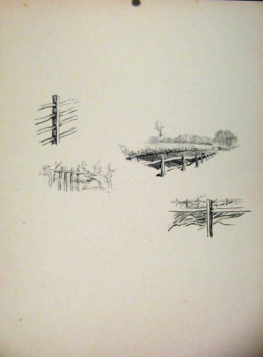 Print Wire Posts On The Landing Side By Lionel Edwards 427651 Old Original