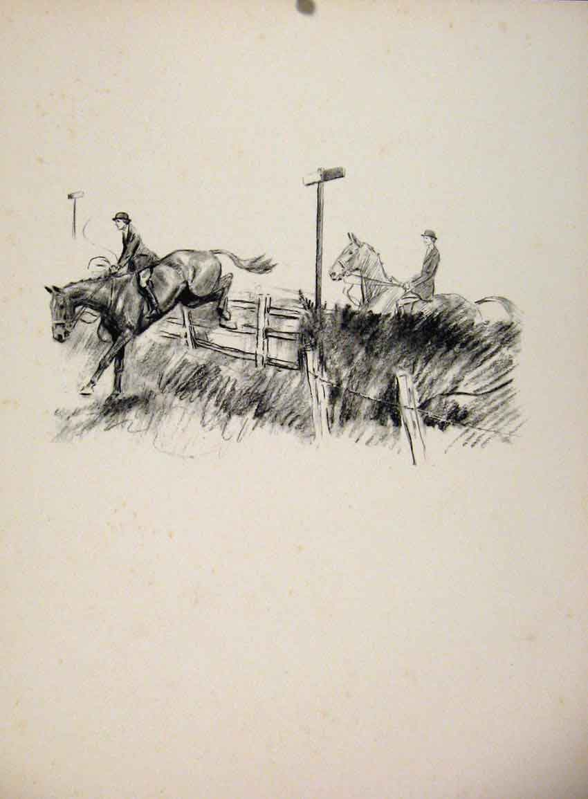 Print South Atherstone A Jumping Place By Lionel Edwards 1935 887651 Old Original