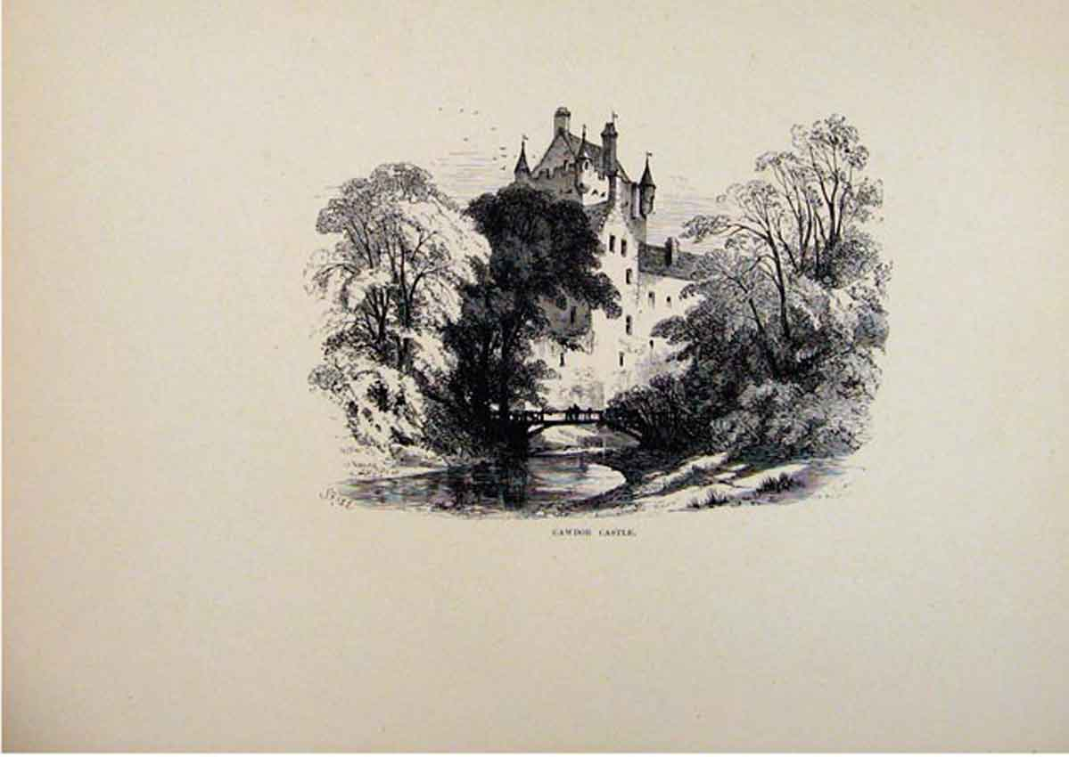 Print Cawdor Castle C1875 Fine Art Sketch 217661 Old Original
