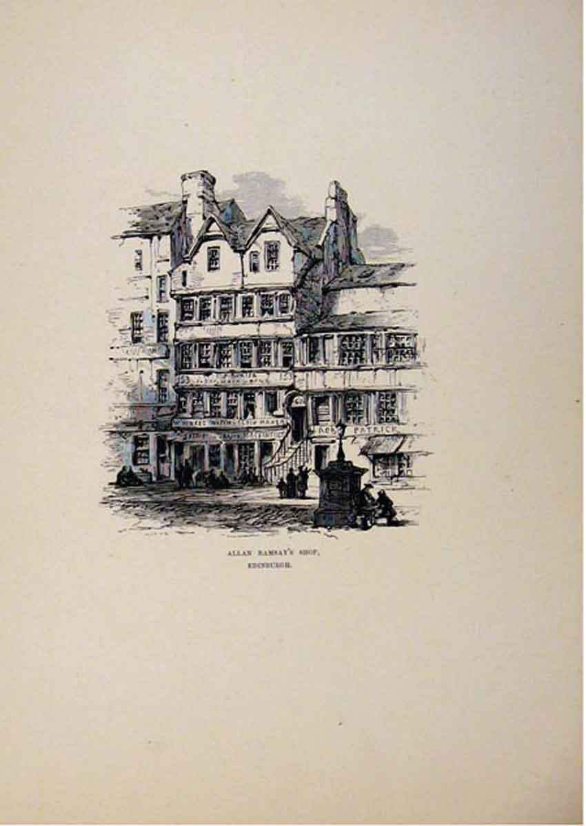 Print C1875 Edinburgh Allan Ramsays Shop Sketch Art 247661 Old Original
