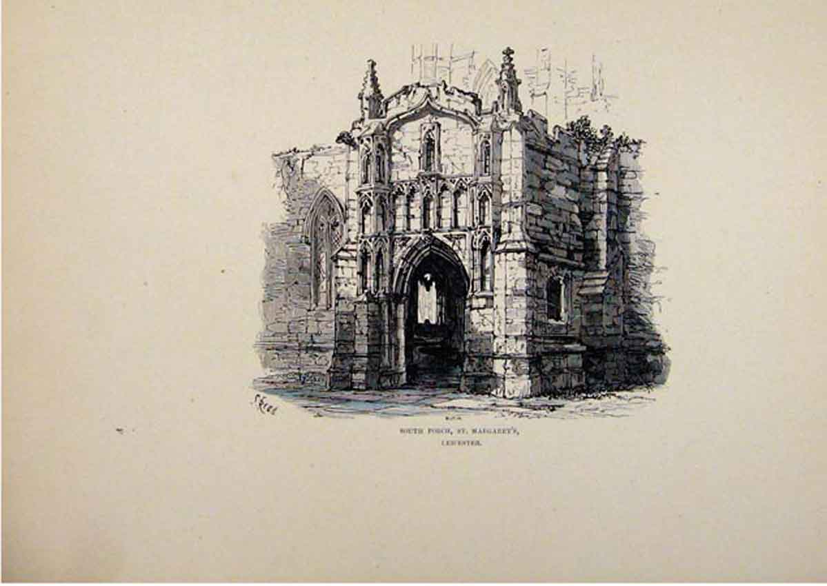 Print Sketch C1875 England Leicester South Porch St Margarets 317661 Old Original