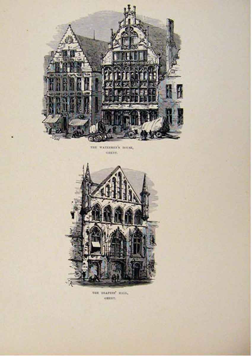 Print Watermens House Drapers Hall Ghent C1875 Art 377661 Old Original