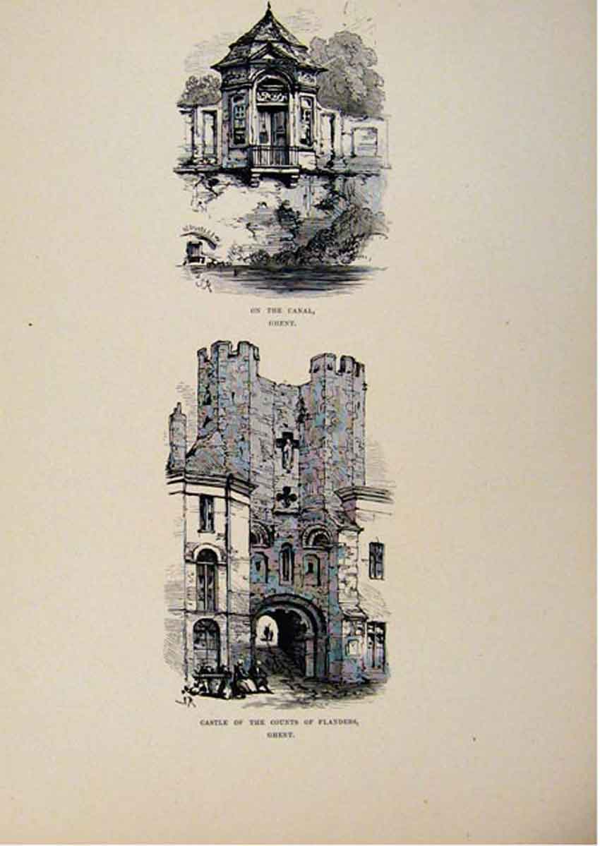 Print Ghent C1875 On The Canal Castle Counts Flanders Art 387661 Old Original