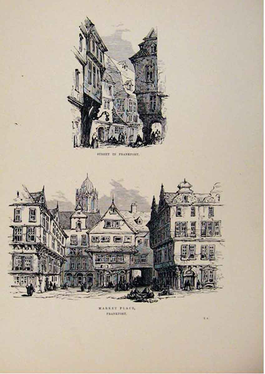 Print Street In Frankfort Market Place C1875 Sketches 417661 Old Original