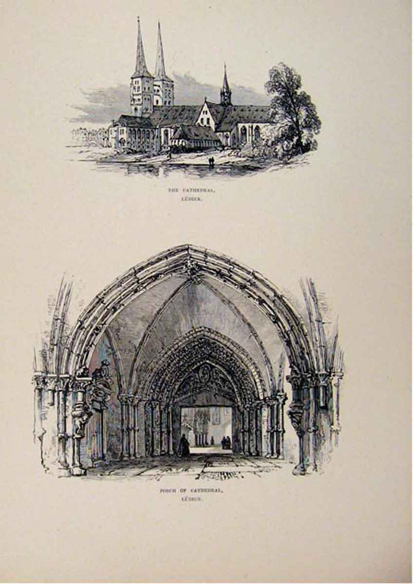Print Cathedral Porch Lubeck Germancy C1875 Sketch 487661 Old Original