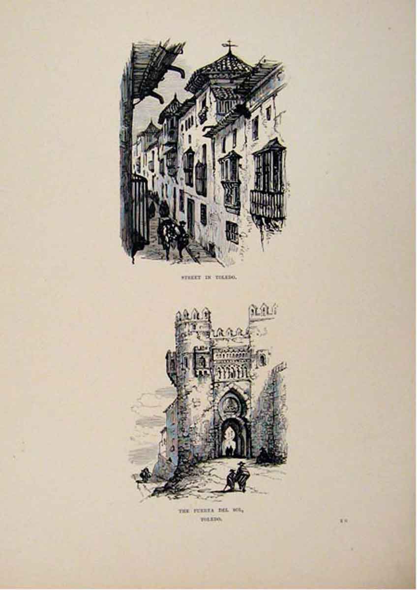 Print Street In Toledo Puerta Del Sol Spain Sketch 517661 Old Original