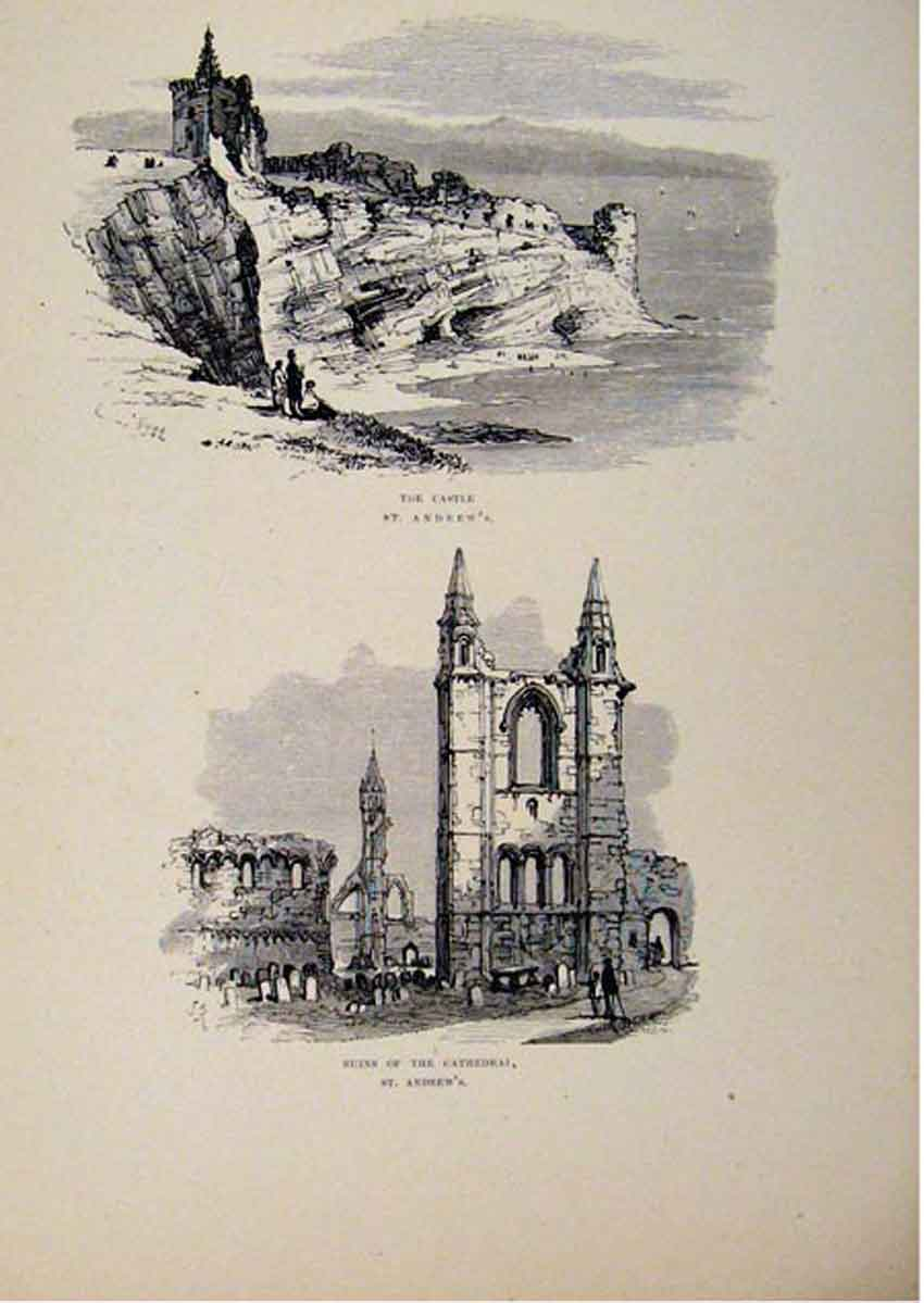 Print Castle St Andrews Ruins Cathedral C1875 587661 Old Original