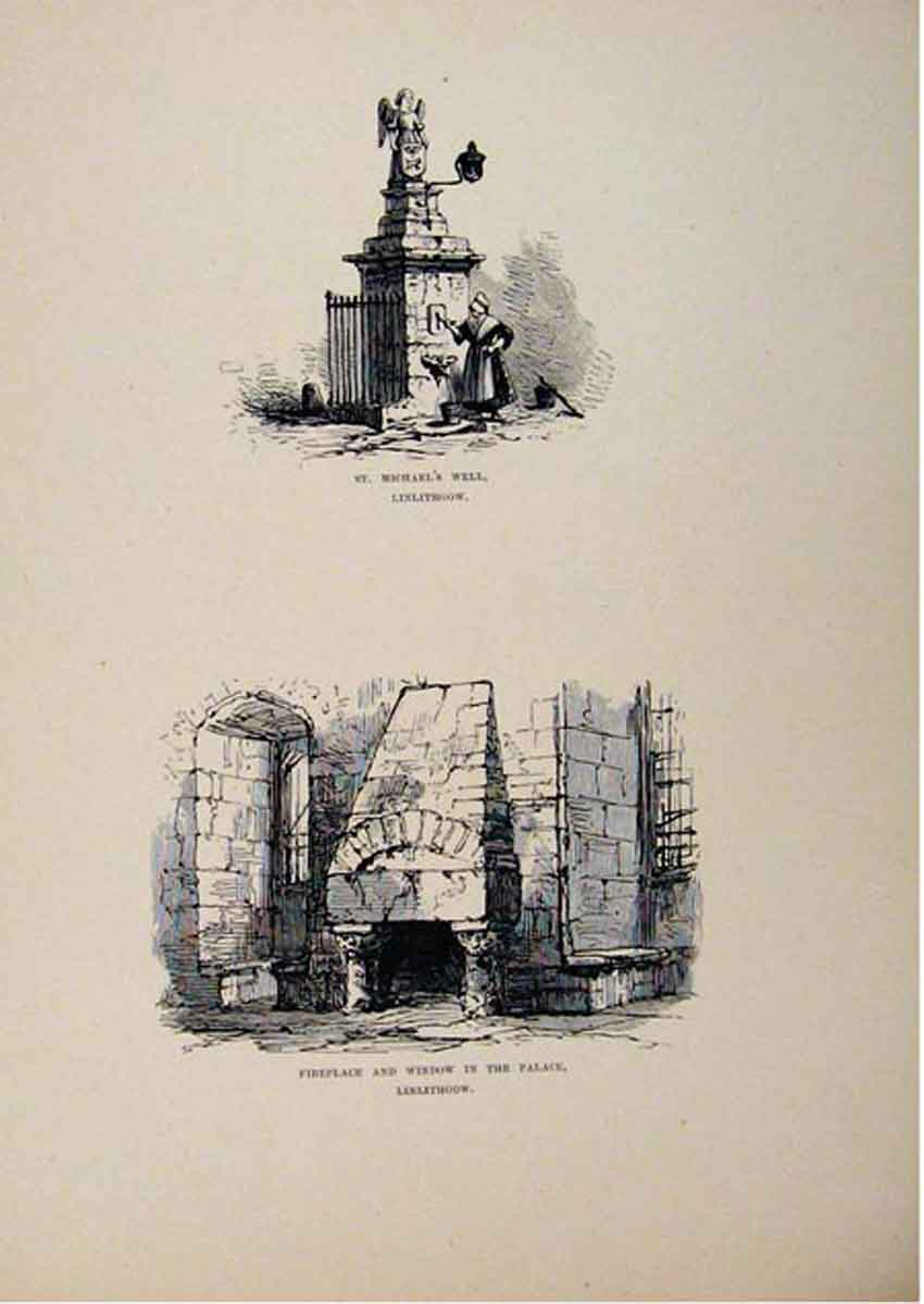 Print St Michaels Well Fireplace Window Palace Linlithgow 597661 Old Original