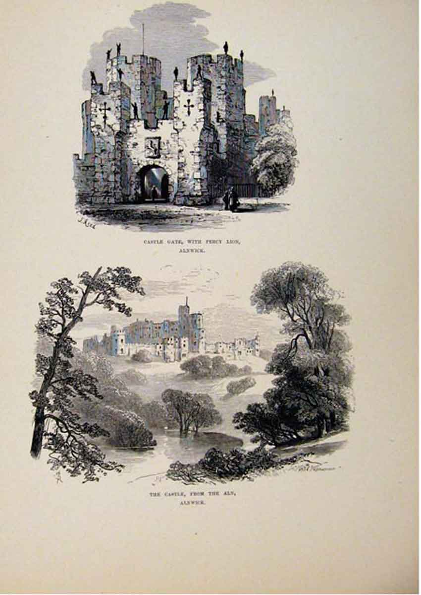 Print Castle Gate Percy Lion Aln Alnwick C1875 Art 627661 Old Original