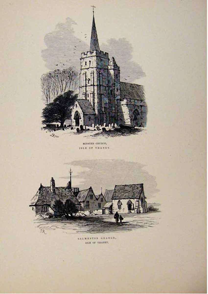 Print Minster Church Salmeston Grange Isle Thanet Sketch 637661 Old Original