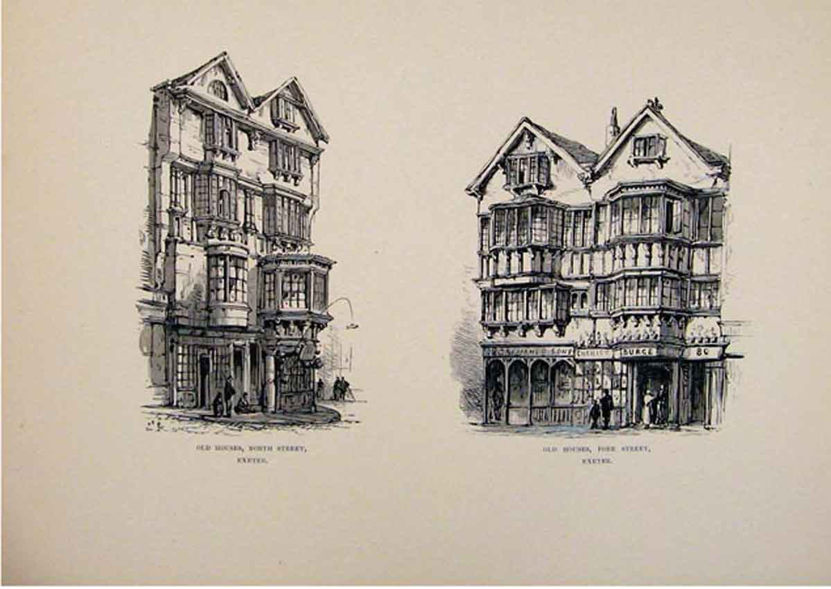 Print Houses North Fore Street Exeter England C1875 667661 Old Original