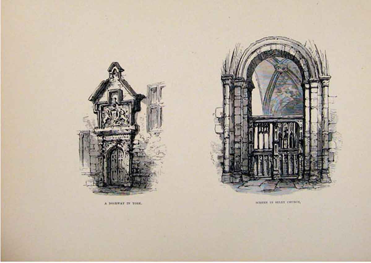 Print Doorway Screen Selby Church York England C1875 Sketch 757661 Old Original