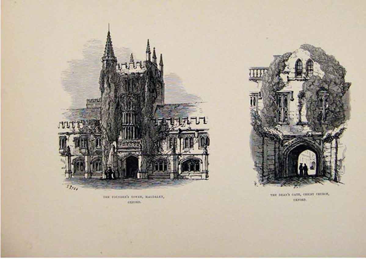 Print Founders Tower Magdalen Deans Gate Christ Church Oxford 807661 Old Original