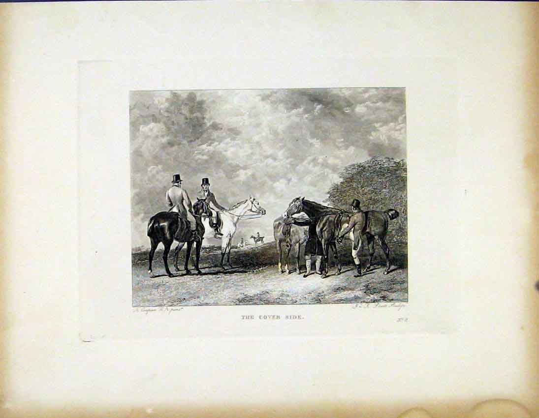 Print The Cover Side C1843 Horse Riders Art 117691 Old Original