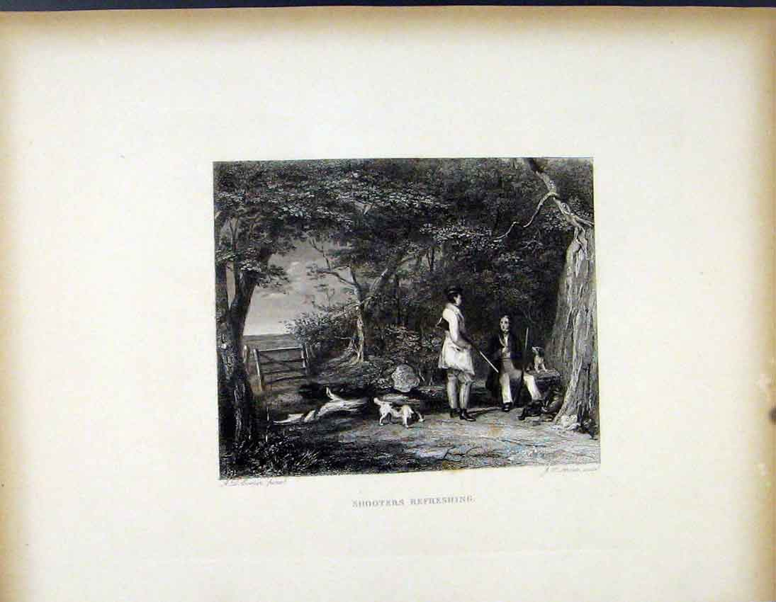 Print Shooters Refreshing C1843 Hunters Resting 507691 Old Original