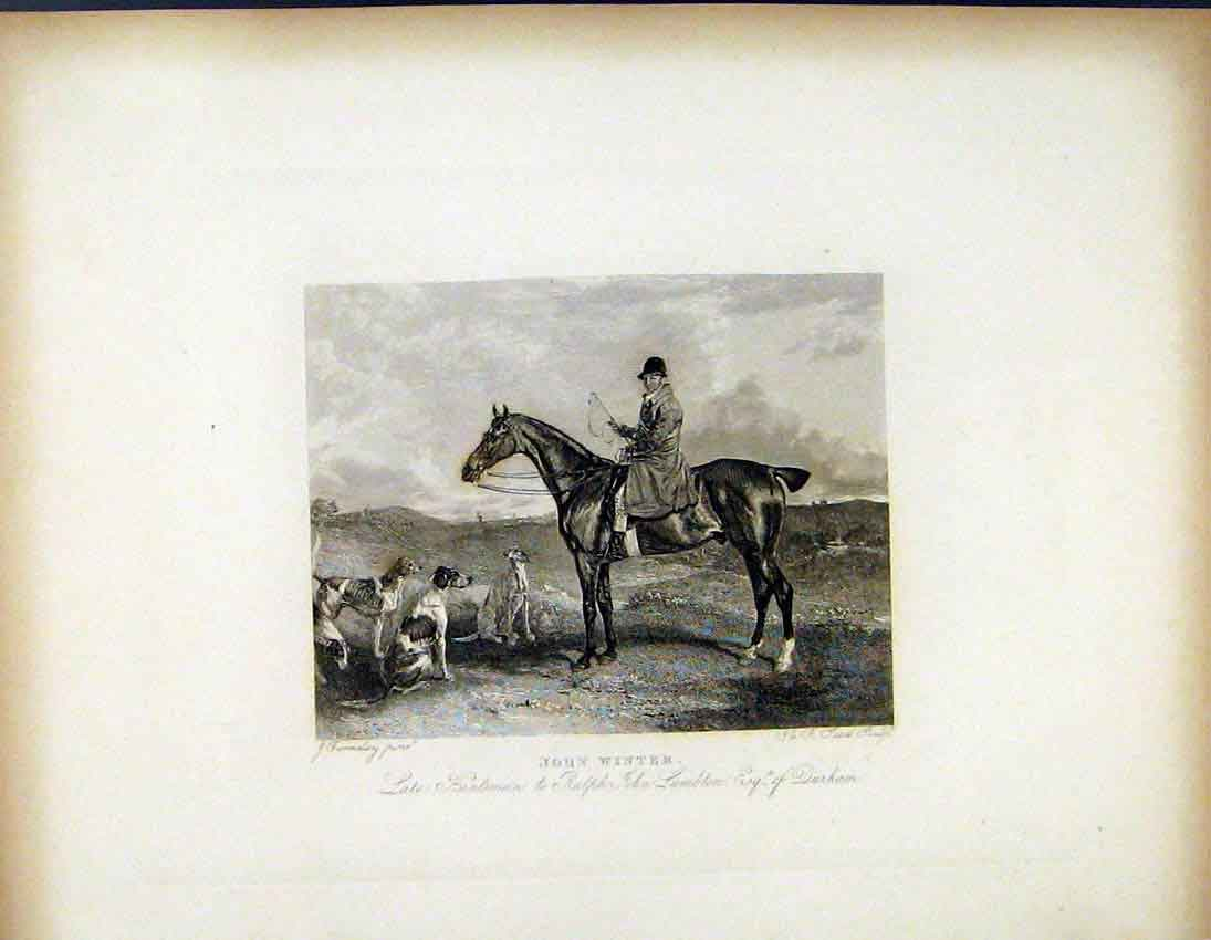 Print John Winter Huntsman C1843 Hunter Dogs 647691 Old Original