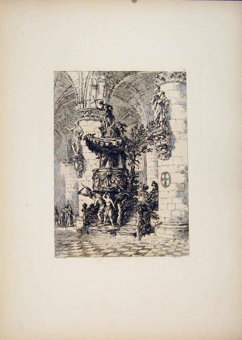 Print St Gudule Carved Pulpit Burssels Etching C1877 Belgium 167701 Old Original