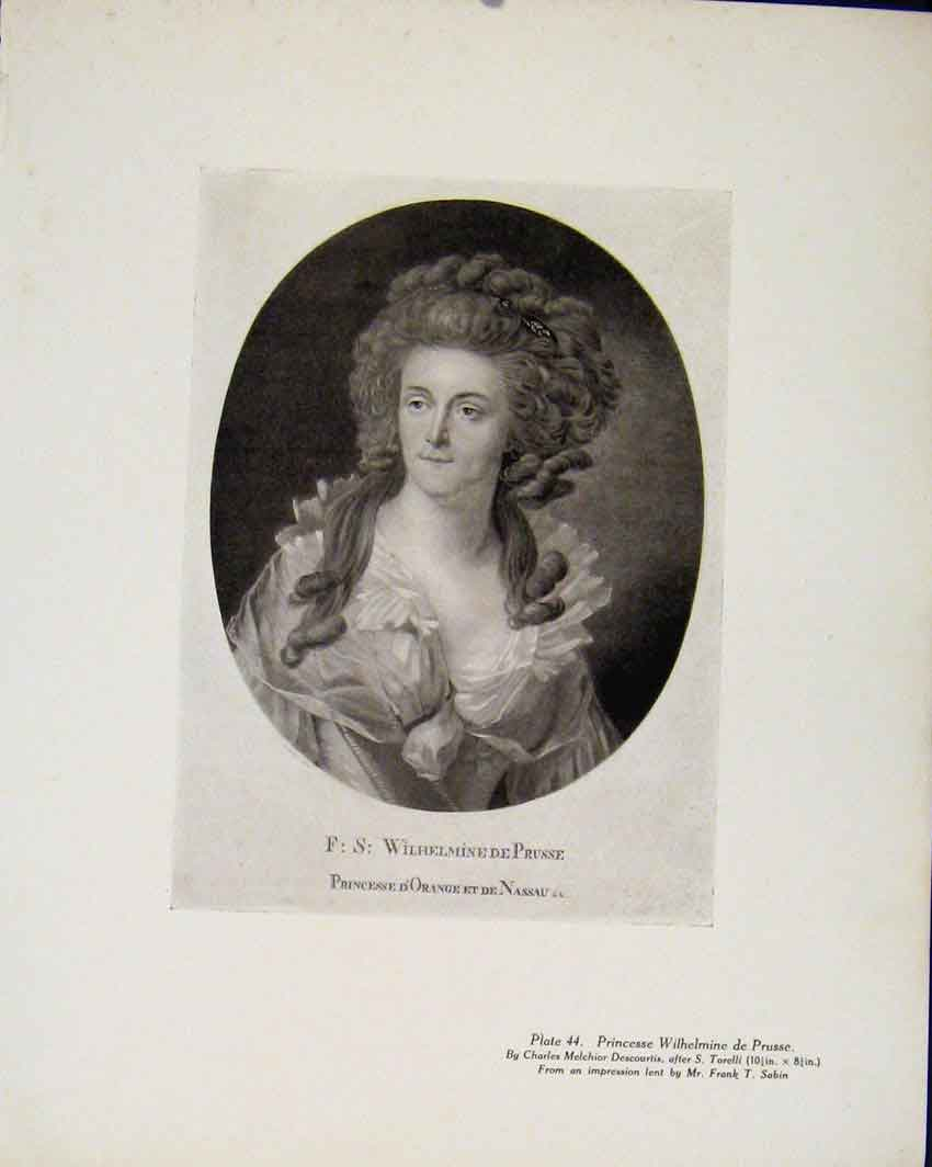 Print Princesse Wilhelmine De Prusse Limited Edition 297711 Old Original