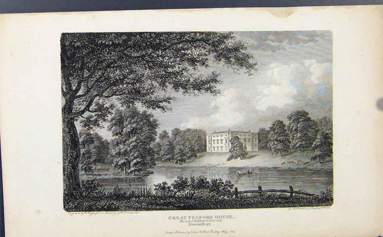 Print Great Gulford House Devonshire England C1849 077721 Old Original