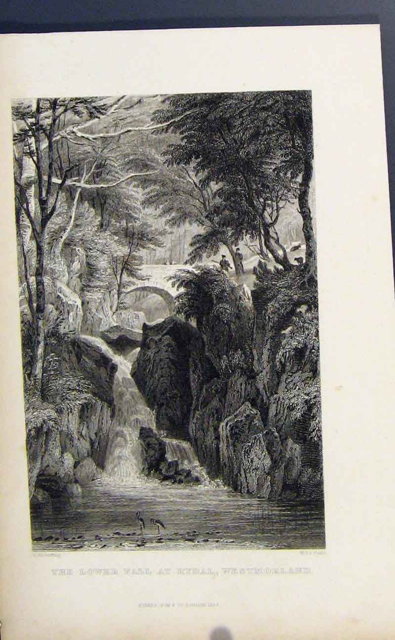 Print Fine Art C1849 Lower Fall Rydal England 287721 Old Original