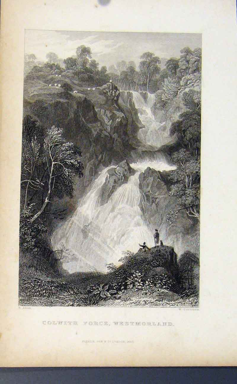 Print C1849 England Colwith Force Westmorland 307721 Old Original