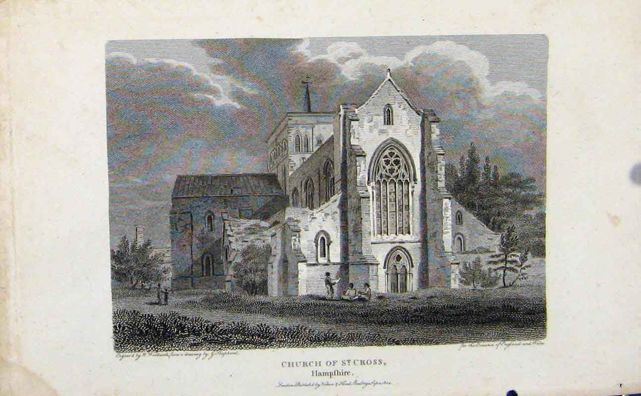 Print Church St Cross Hampshire England Art 547721 Old Original