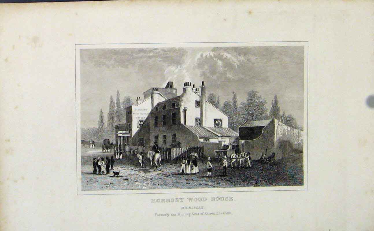 Print Hornsey Wood House C1849 Middlesex England 647721 Old Original