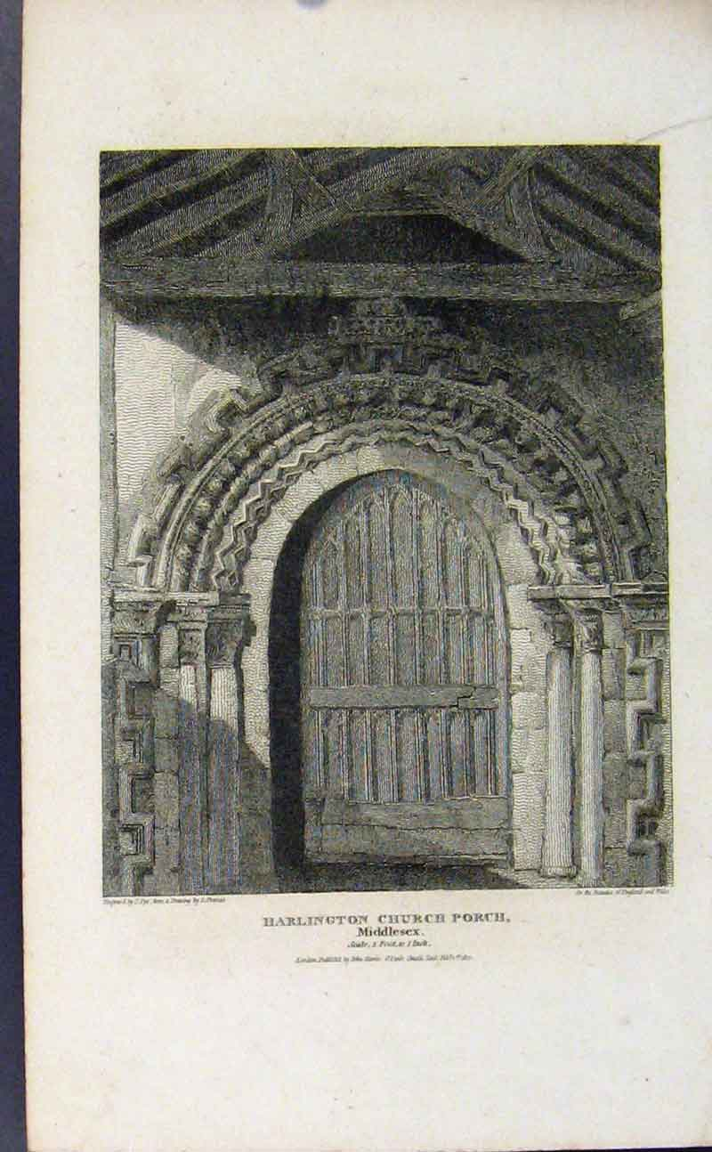 Print Harlington Church Porch Middlesex 657721 Old Original