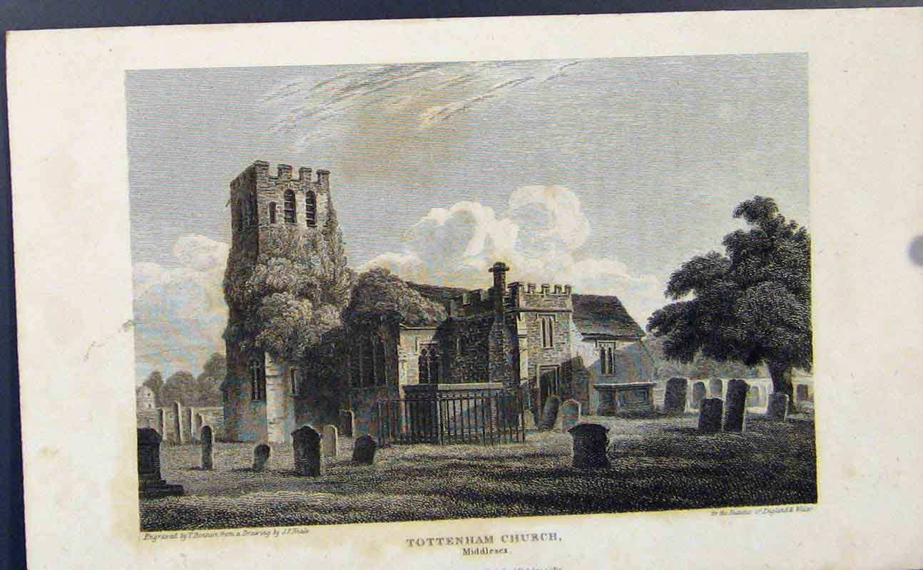 Print Tottenham Church Middlesex C1849 687721 Old Original