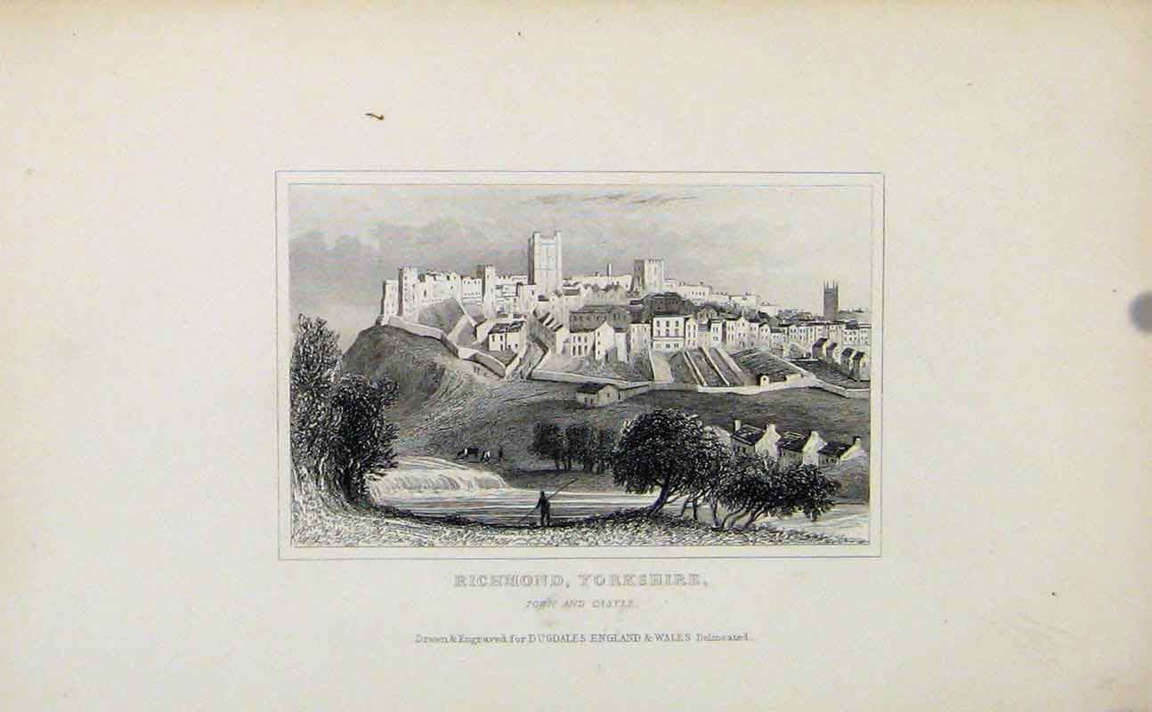 Print Richomond Yorkshire Town Castle C1849 897721 Old Original
