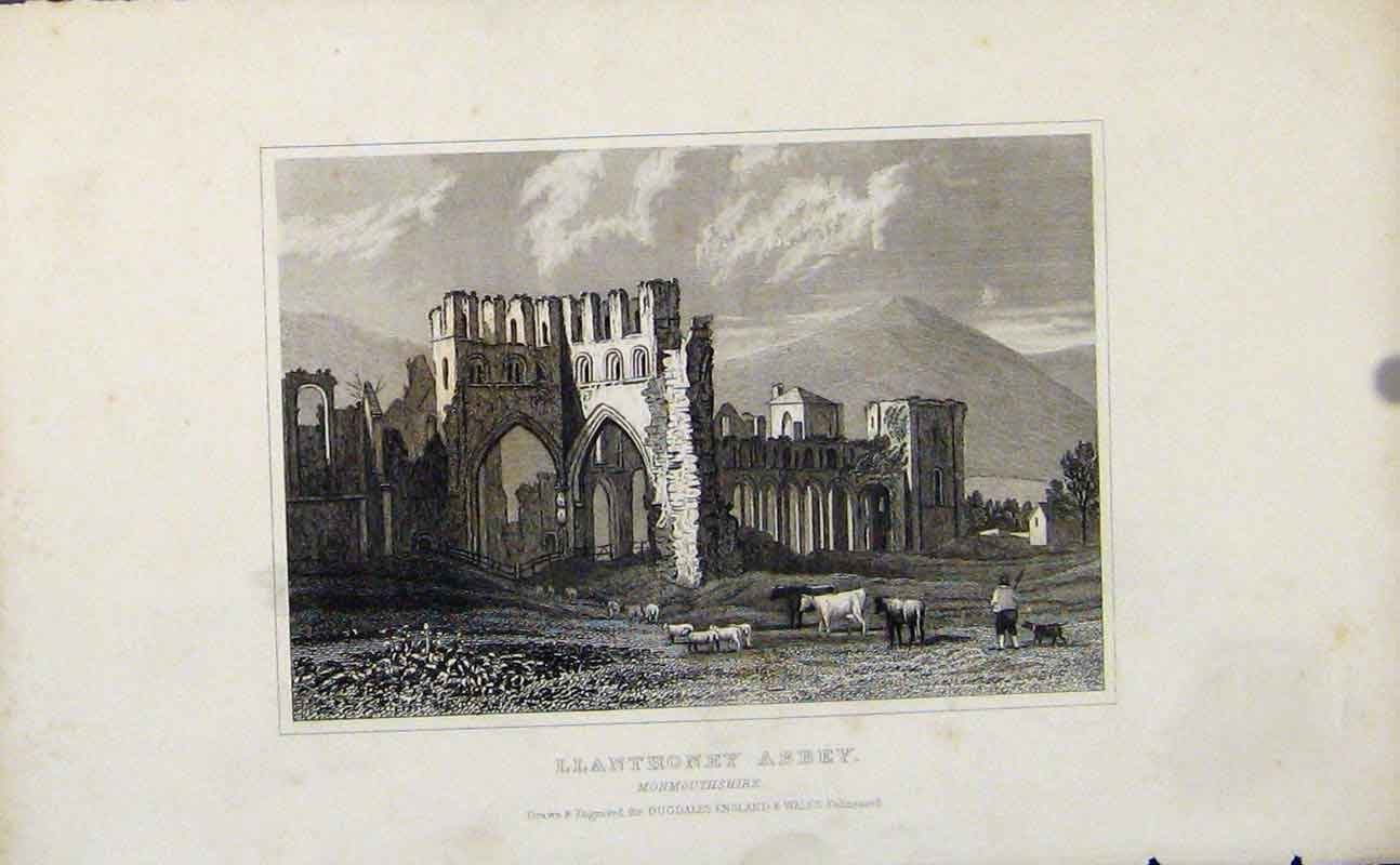 Print Llanthoney Abbey Monmouthshire Fine Art 067721 Old Original