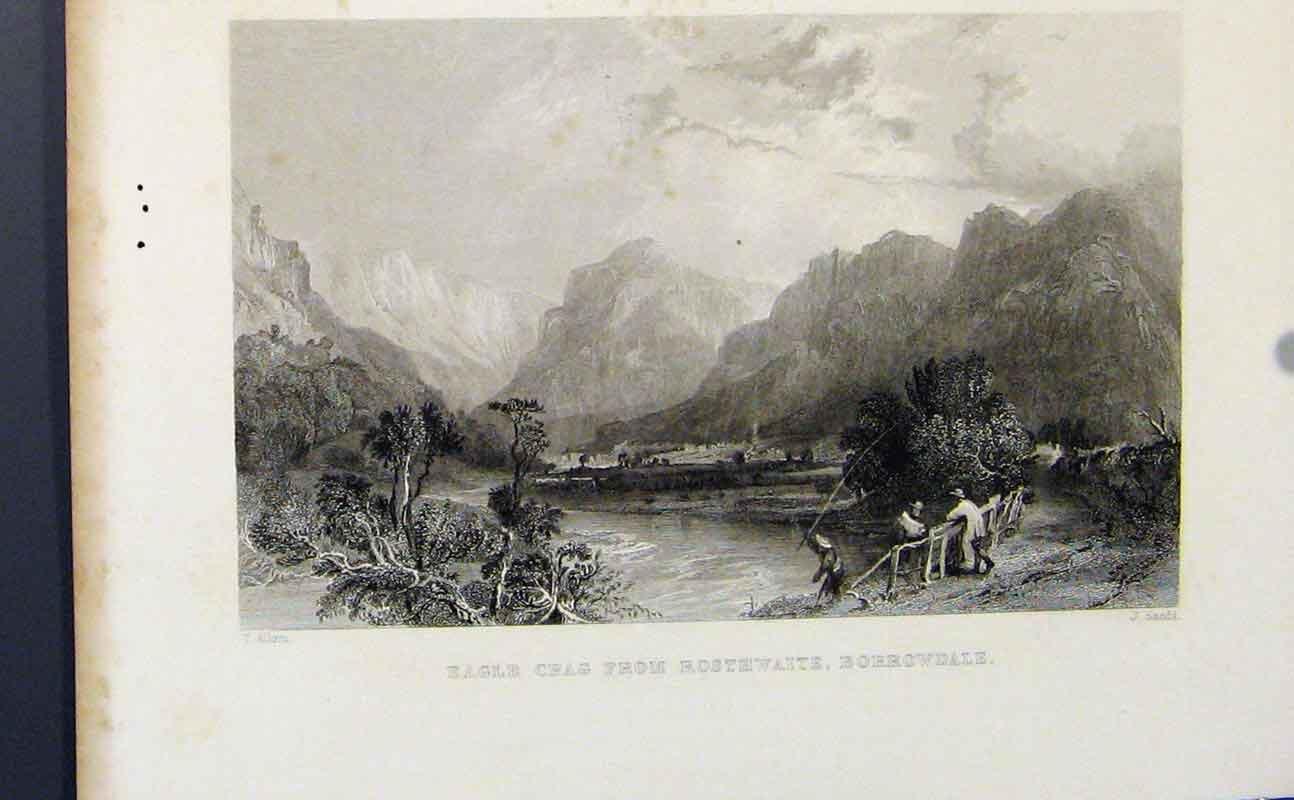 Print Eagle Crag Rosthwaite Borrowdale Fine Art 147721 Old Original