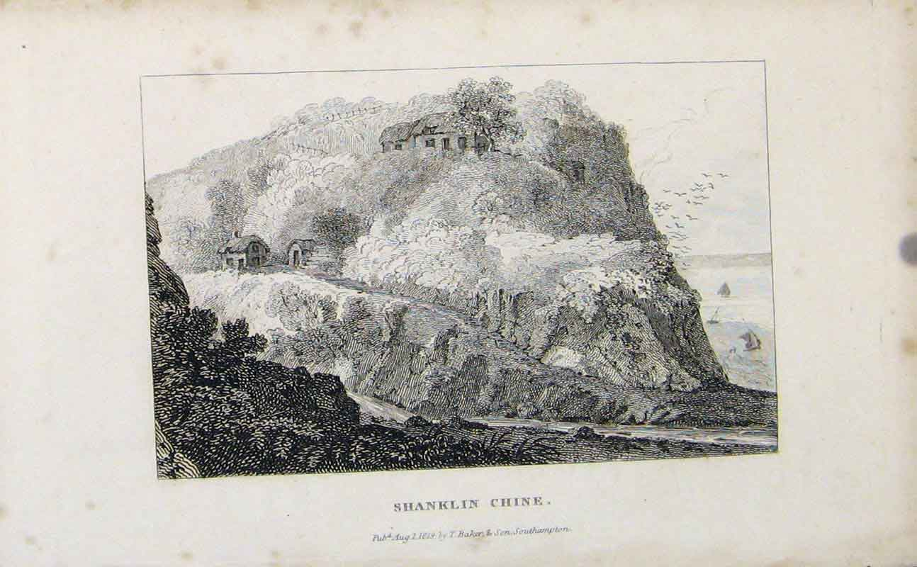 Print Shanklin Chine C1849 Fine Art Engrave 167721 Old Original