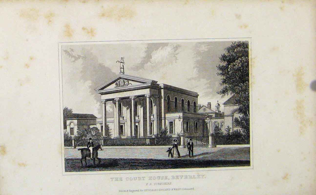 Print C1849 England Yorkshire Court House Beverley 357721 Old Original