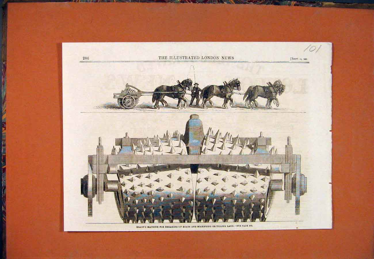 Print Braby Machine Scarifying Tilling Land Braby'S 1861 017761 Old Original