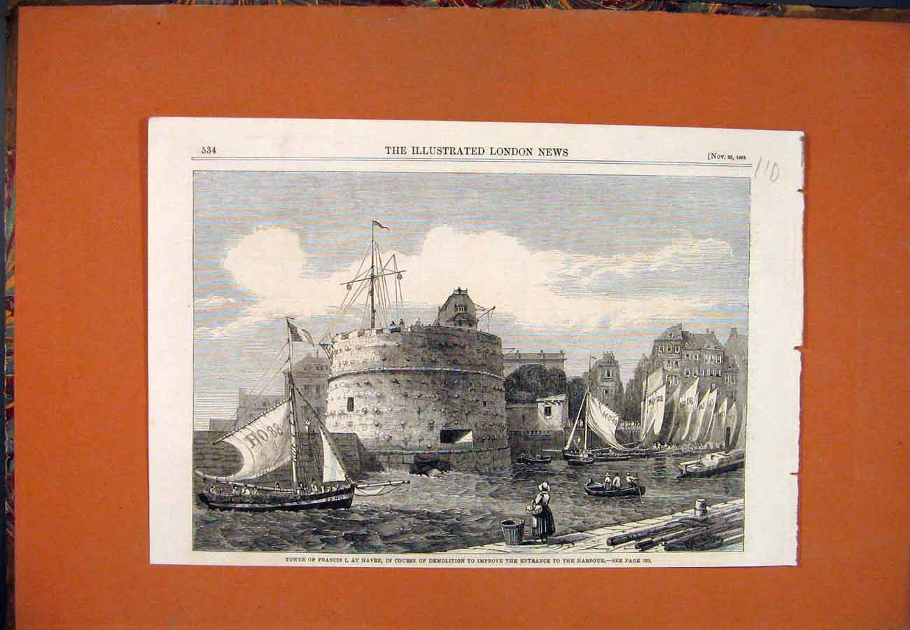 Print Tower St Francis Havre Harbour Demolition 1861 107761 Old Original