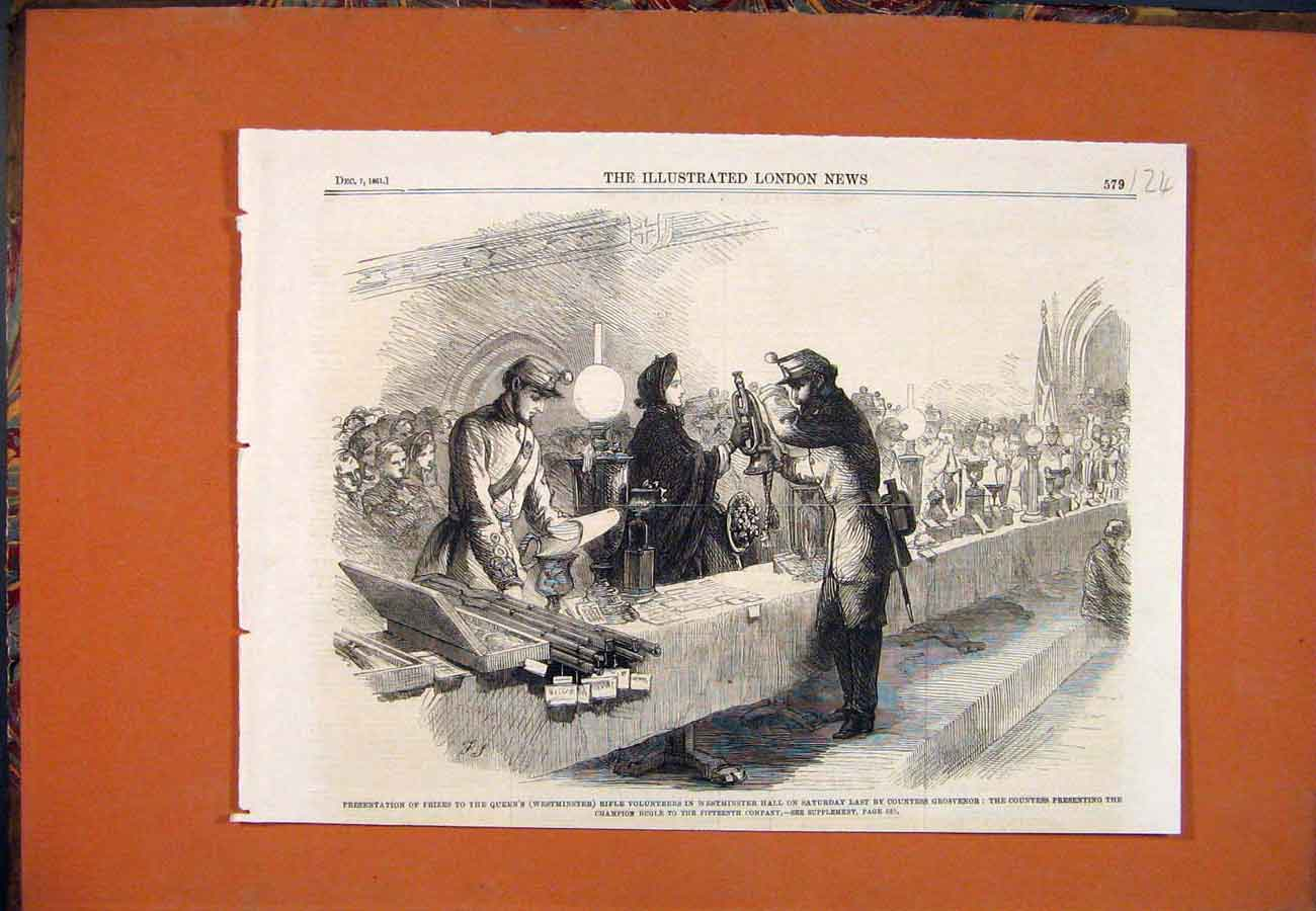 Print Westminster Rifle Volunteers Prizes Champion Bugle 1861 247761 Old Original