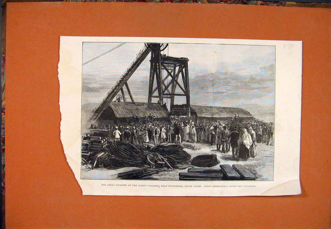 Print Albion Colliery Pontypridd Wales Explosion Coal Mine 397761 Old Original