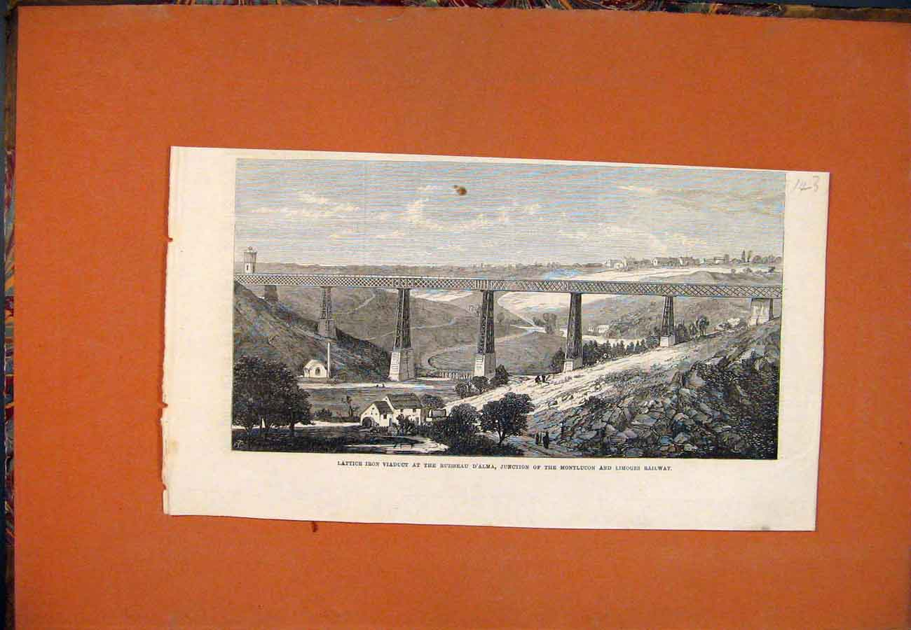 Print Lattice Iron Viaduct Ruisseau D'Alma Montlucon Limoges 437761 Old Original