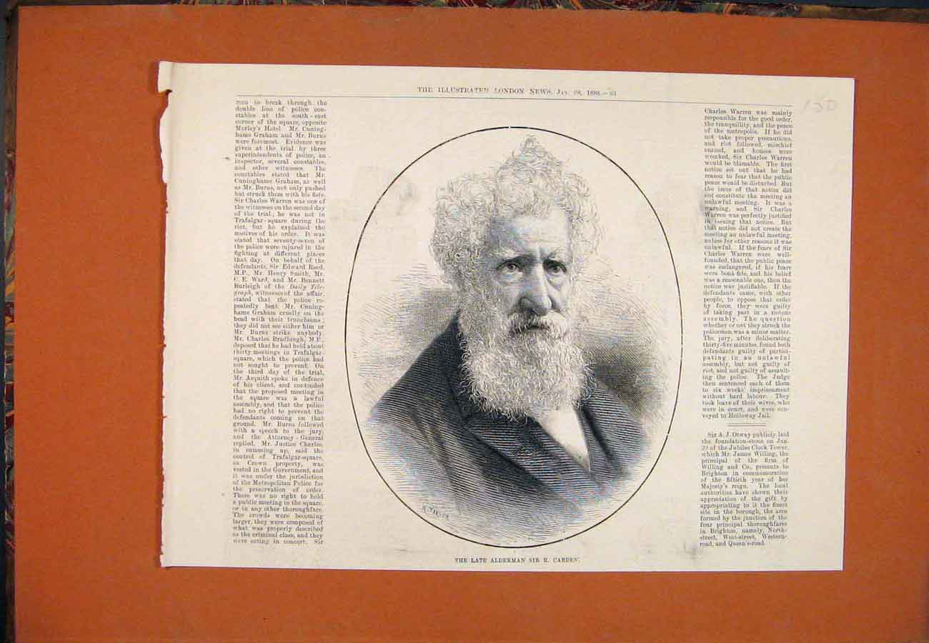 Print Portrait Alderman Sir Carden 1888 507761 Old Original