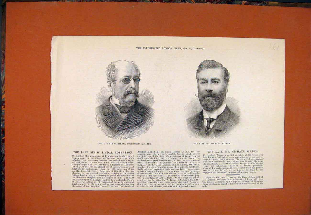 Print Portrait Robertson Magistrate Watson Composer 1889 617761 Old Original