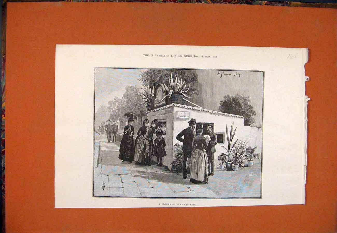 Print Flower Shop San Remo Street Italy 1889 657761 Old Original