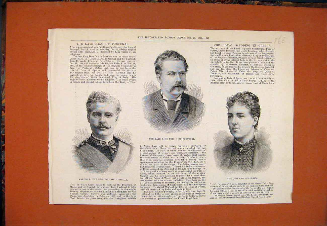 Print Portrait Carlos King Portugal Luis Queen 1889 687761 Old Original