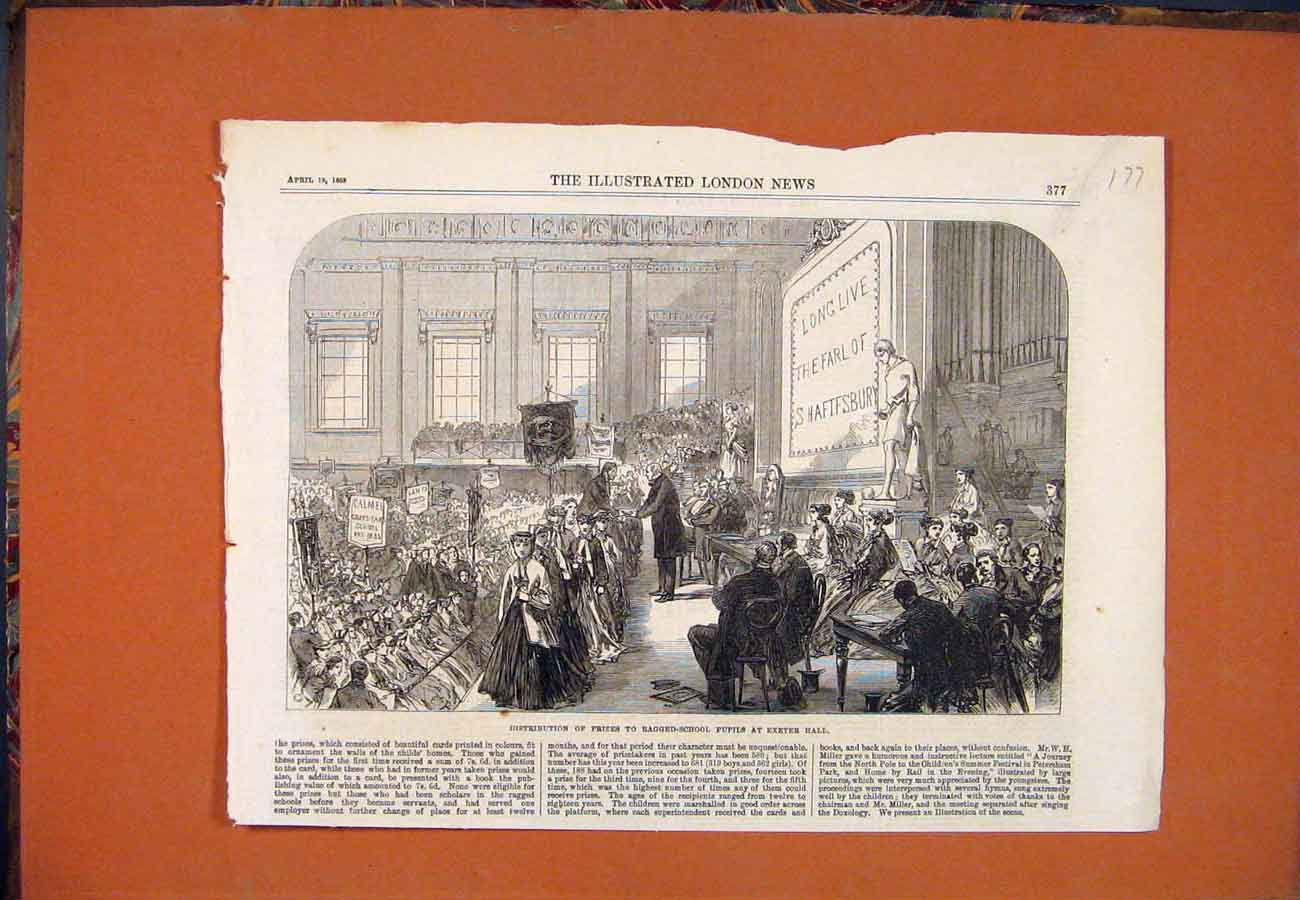 Print Ragged-School Pupils Exeter Hall Prizes 1868 777761 Old Original