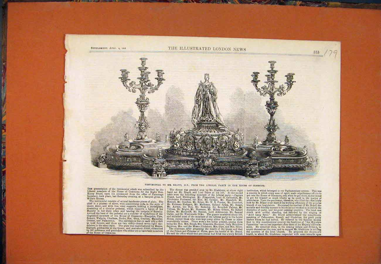 Print Brand Testimonial Liberal Party House Commons 1868 797761 Old Original