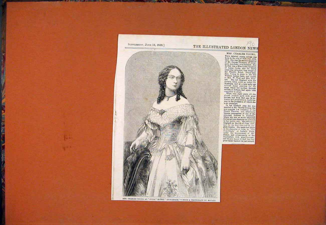 Print Mrs Charles Young Hunchback Theatre Actress 1858 907761 Old Original